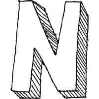 Large Block Letter N
